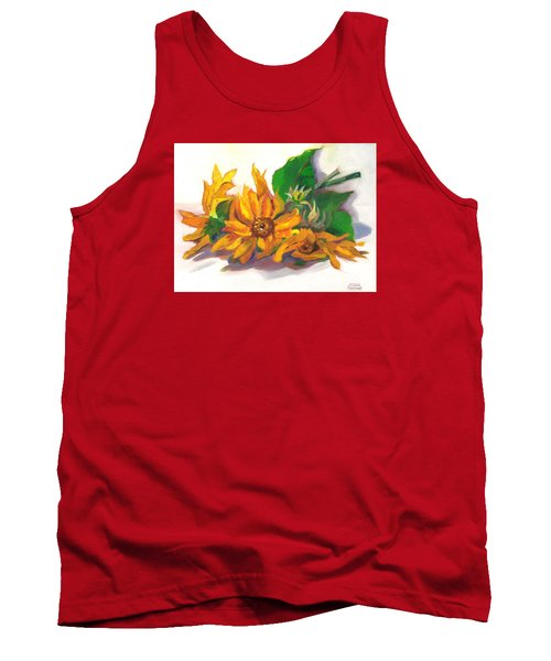 Tank Top featuring the painting Three Sunflowers by Susan Thomas