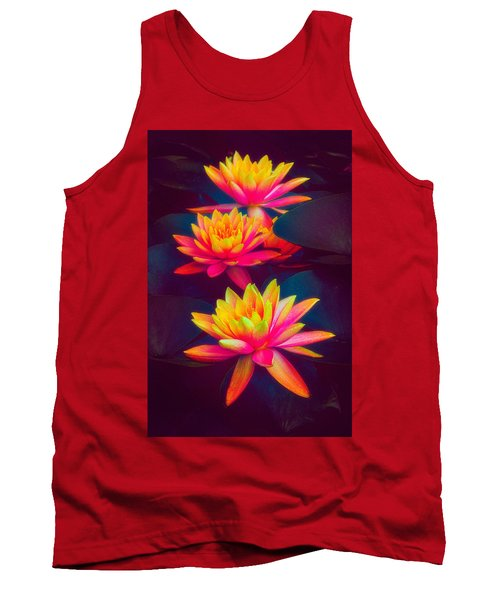 Tank Top featuring the photograph Three Waterlilies by Chris Lord