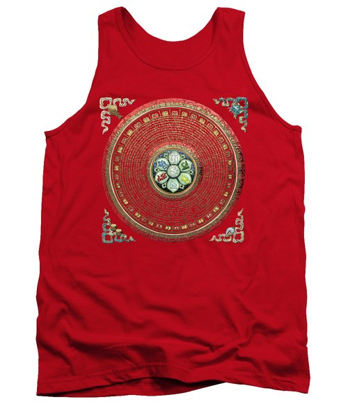 Tibetan Om Mantra Mandala In Gold On Black And Red Tank Top