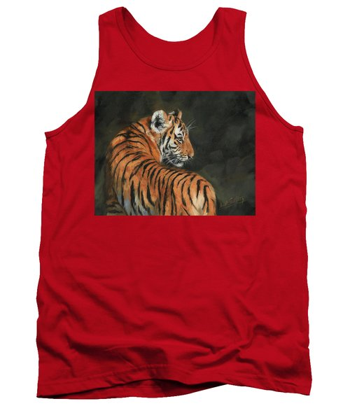 Tank Top featuring the painting Tiger At Night by David Stribbling