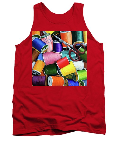 Tank Top featuring the painting Time To Sew - Colorful Threads by Linda Apple