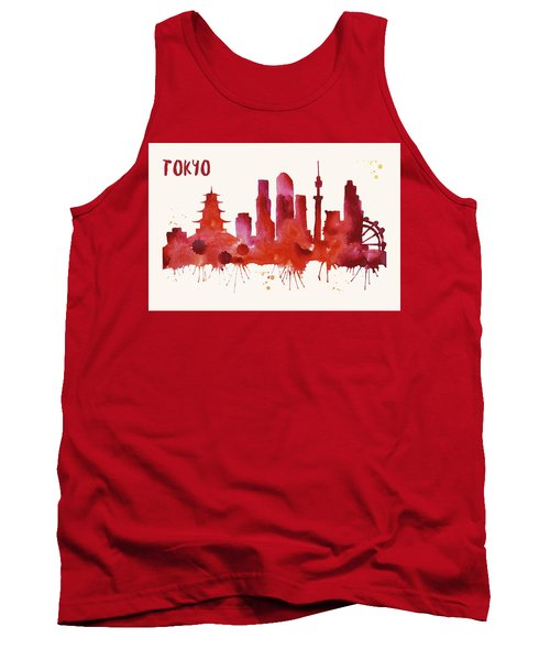 Tokyo Skyline Watercolor Poster - Cityscape Painting Artwork Tank Top by Beautify My Walls