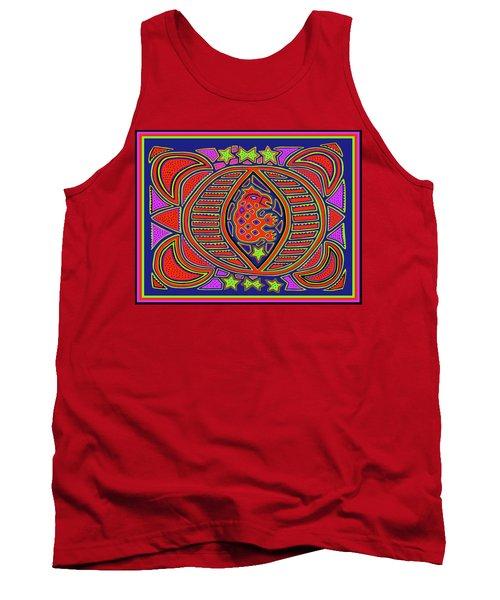 Tank Top featuring the digital art Tortuga Shaman Spirits by Vagabond Folk Art - Virginia Vivier