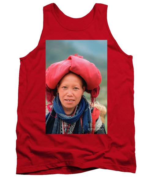Traditional Fashion Of A Red Dzao Woman Tank Top