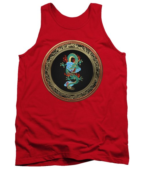 Treasure Trove - Turquoise Dragon Over Red Velvet Tank Top