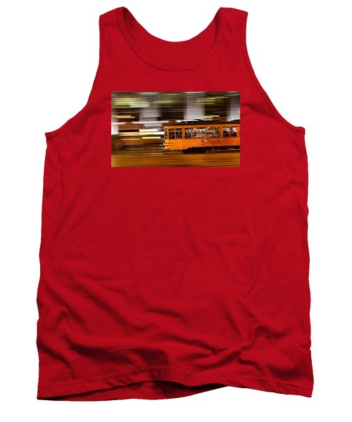 Tank Top featuring the photograph Trolley 1856 On The Move by Steve Siri