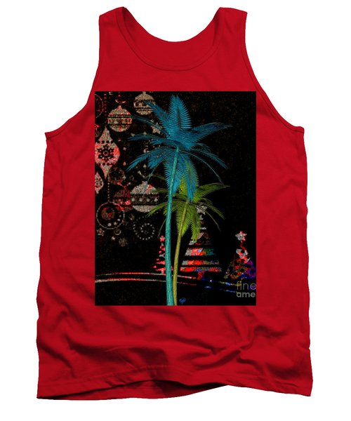 Tank Top featuring the digital art Tropical Holiday Red by Megan Dirsa-DuBois