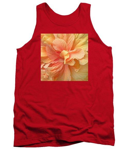 Tropical Peach Hibiscus Flower Tank Top