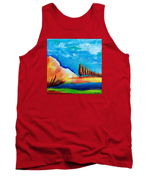 Tank Top featuring the painting Tuscan Cypress by Elizabeth Fontaine-Barr