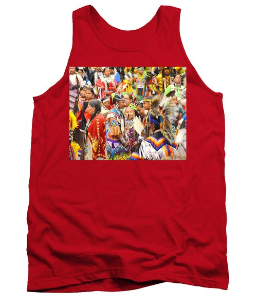 Tank Top featuring the photograph Tweens At Grand Entry by Clarice  Lakota