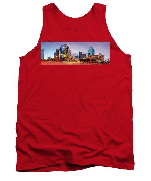 Twilight Panorama Of Downtown Dallas Skyline - North Akard Street Dallas Texas Tank Top