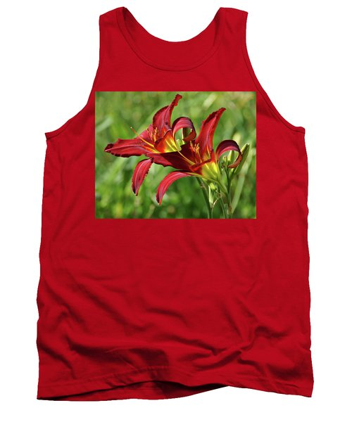 Tank Top featuring the photograph Twin Daylilies by Sandy Keeton