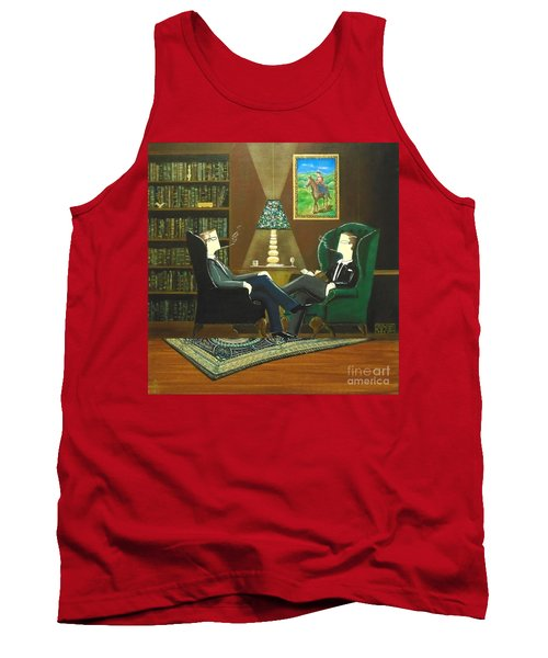 Two Gentlemen Sitting In Wingback Chairs At Private Club Tank Top