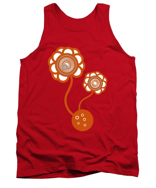 Two Orange Flowers Tank Top by Frank Tschakert