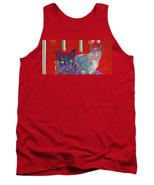 Two Posh Cats Tank Top by Charles Stuart