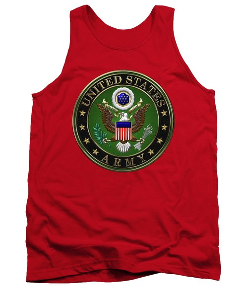 U. S.  Army Emblem Over Red Velvet Tank Top