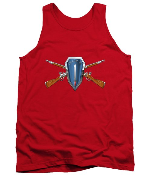 Tank Top featuring the digital art U. S. Army Infantry School Distinctive Unit Insignia Over Red Velvet by Serge Averbukh