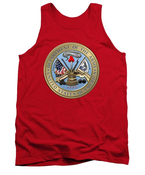 U. S. Army Seal Over Red Velvet Tank Top