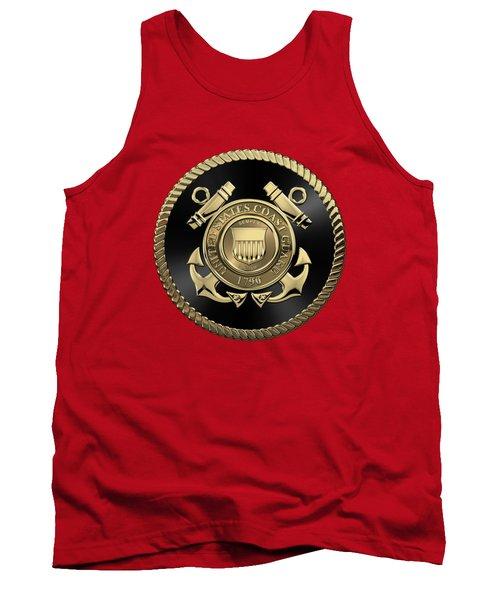 U. S.  Coast Guard  -  U S C G Emblem Black Edition Over Red Velvet Tank Top