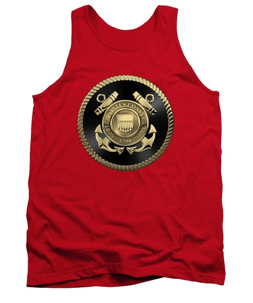 U. S.  Coast Guard  -  U S C G Emblem Black Edition Over Red Velvet Tank Top