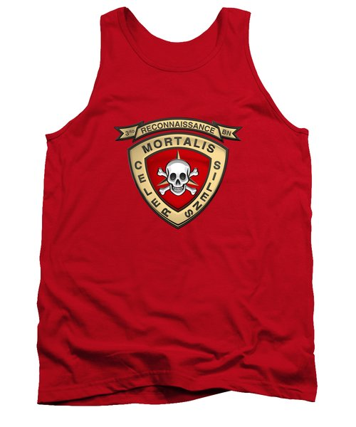 U S M C  3rd Reconnaissance Battalion -  3rd Recon Bn Insignia Over Red Velvet Tank Top