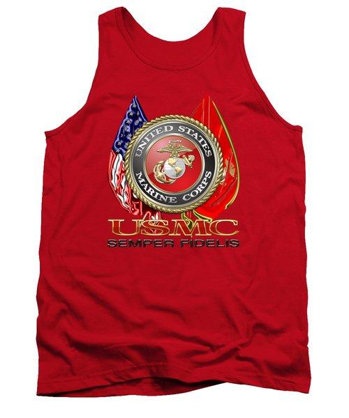U. S. Marine Corps U S M C Emblem On Red Tank Top by Serge Averbukh