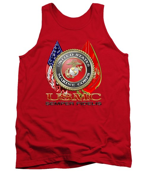 U. S. Marine Corps U S M C Emblem On Red Tank Top