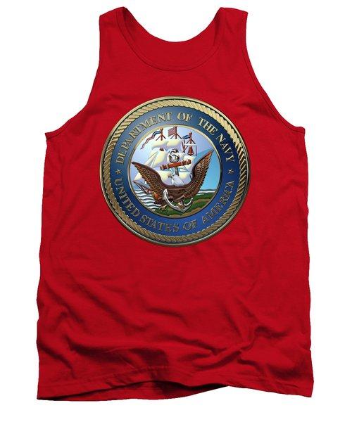 U. S.  Navy  -  U S N Emblem Over Red Velvet Tank Top by Serge Averbukh