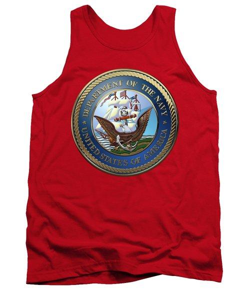 U. S.  Navy  -  U S N Emblem Over Red Velvet Tank Top