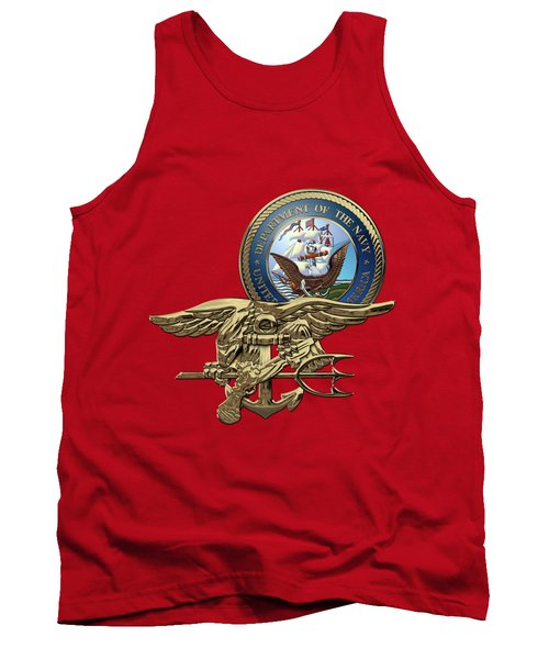 U. S. Navy S E A Ls Trident Over Red Velvet Tank Top