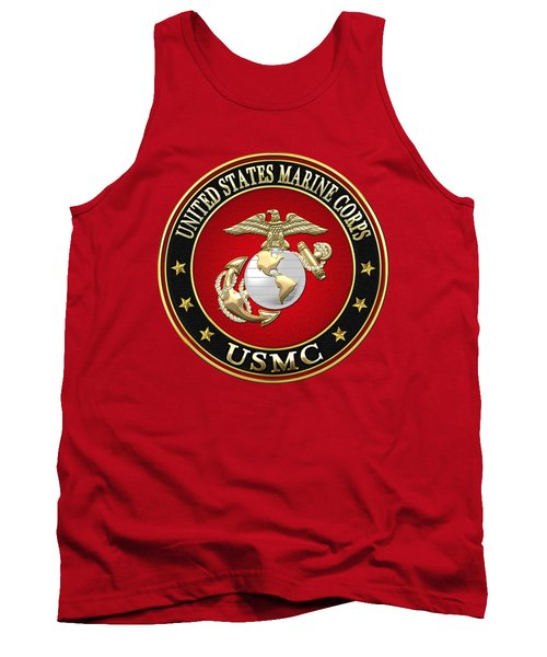 U S M C Eagle Globe And Anchor - E G A On Red Velvet Tank Top