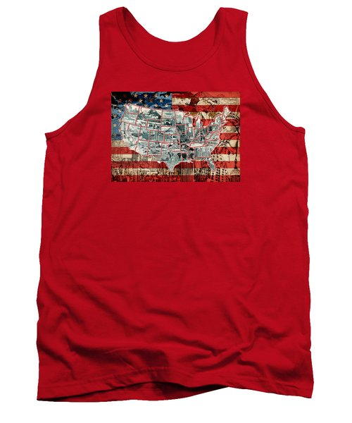 United States Drawing Collage Map 6 Tank Top
