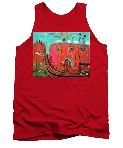 Tank Top featuring the painting Usa Steel Still Fascinates by Mary Carol Williams