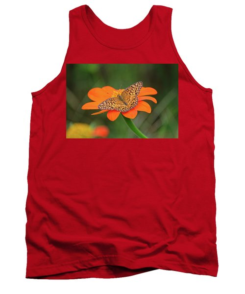 Variegated Fritillary On Flower Tank Top by Ronda Ryan