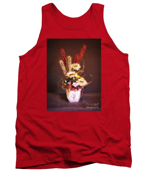 Tank Top featuring the photograph Vase With Flowers  ... by Chuck Caramella
