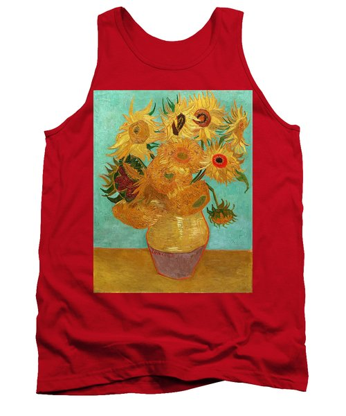 Tank Top featuring the painting Vase With Twelve Sunflowers by Van Gogh