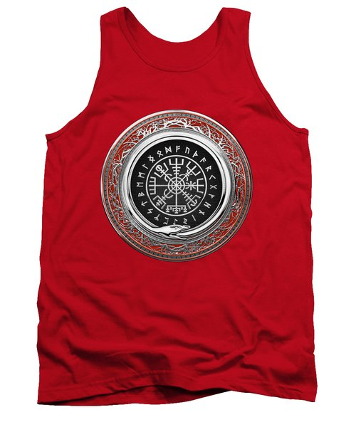 Vegvisir - A Silver Magic Viking Runic Compass On Red Leather  Tank Top