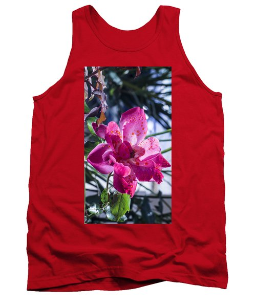 Vibrant Pink Rose Tank Top