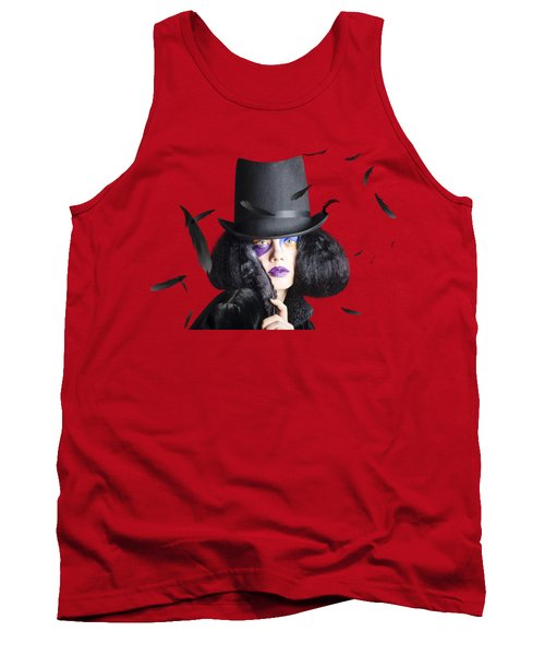 Vogue Woman In Black Costume Tank Top