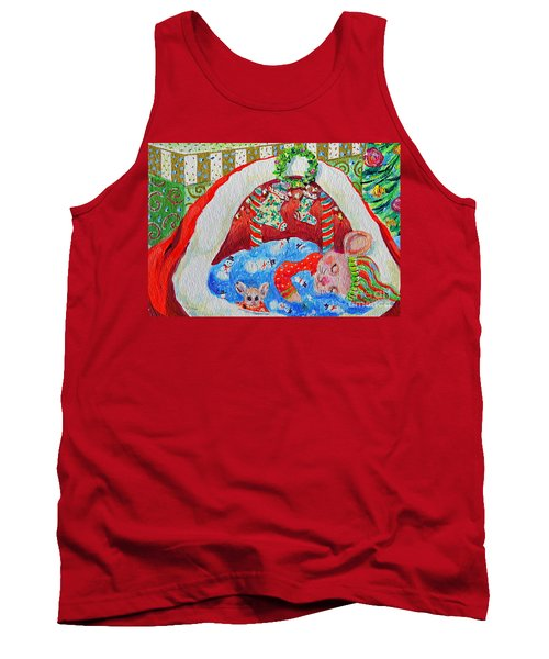 Tank Top featuring the painting Waiting For Santa by Li Newton