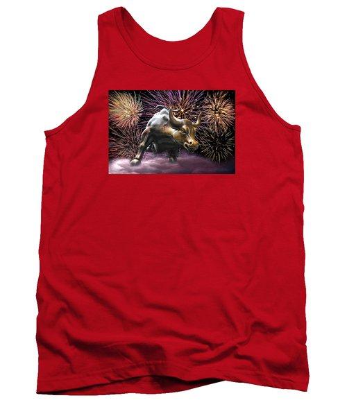 Wall Street Bull Fireworks Tank Top