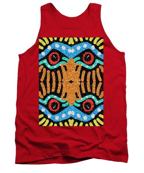 Tank Top featuring the digital art War Eagle Totem Mosaic by Shelli Fitzpatrick