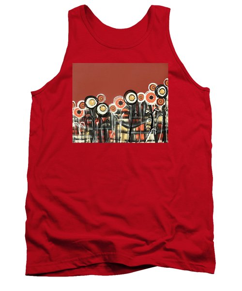 Warm Red Flowers Tank Top