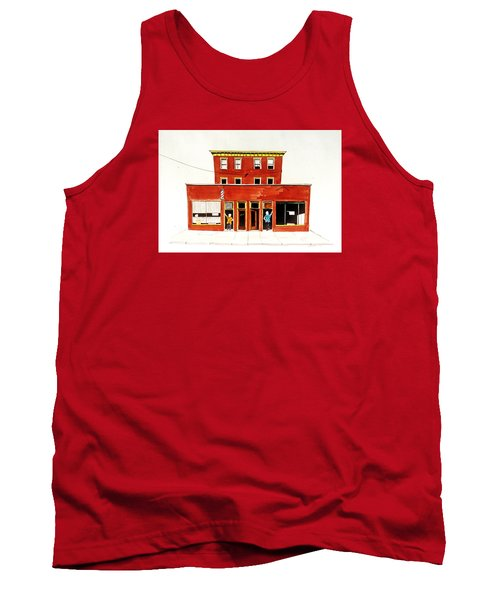 Tank Top featuring the painting Washington Street Barbers by William Renzulli