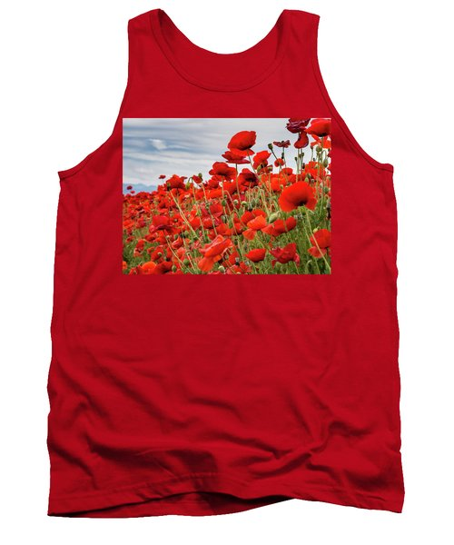 Waving Red Poppies Tank Top by Jean Noren