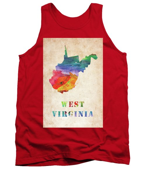 West Virginia Colorful Watercolor Map Tank Top