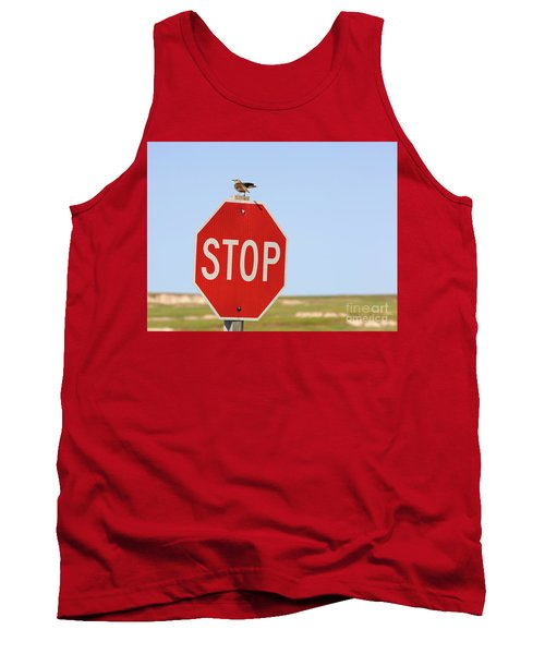 Western Meadowlark Singing On Top Of A Stop Sign Tank Top by Louise Heusinkveld