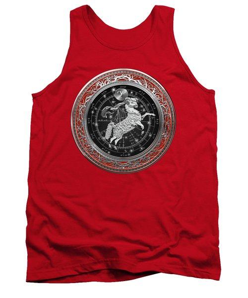 Western Zodiac - Silver Aries -the Ram On Red Velvet Tank Top