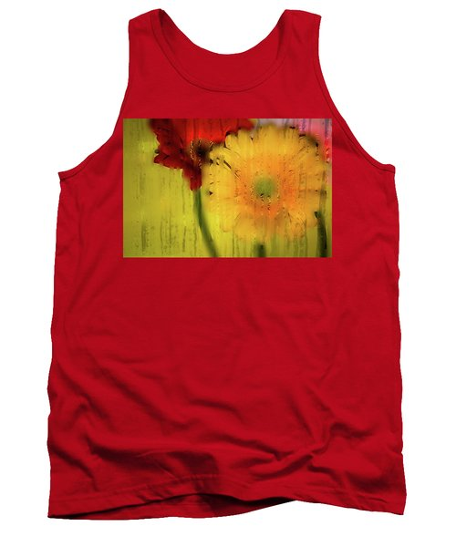 Wet Glass Flowers Tank Top