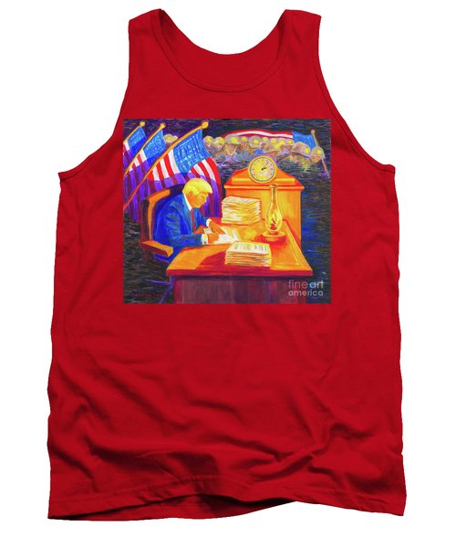 Tank Top featuring the painting While America Sleeps - President Donald Trump Working At His Desk By Bertram Poole by Thomas Bertram POOLE